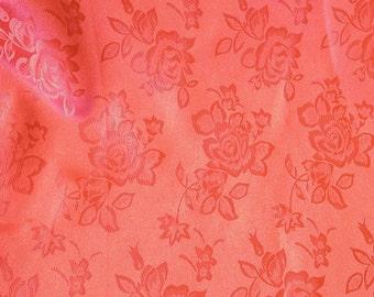 Brocade Jacquard Satin Coral 60 Inch Fabric by the Yard - 1 yard