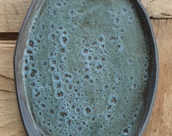 Oval platter/plate with matte teal cratered glaze, 11'' x 8''