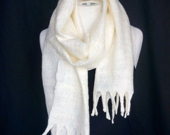 Simply White. Wedding. Cobweb Felted Scarf
