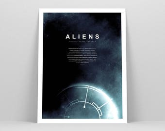 Aliens Movie Poster ~  Sci-Fi Movie Poster, Film Gift, Art Print by Christopher Conner