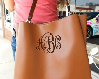 "SALE NEW!! MONOGRAMMED Brown Vegan Leather Purse Tote (2nd herringbone bag 12"" x 8"" with strap) (Font Shown: Interlocking in Brown)"