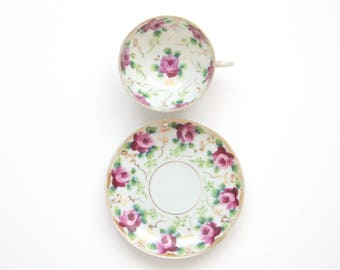 20th Century, Hand Painted Tea Cup and Saucer by Nippon, Replacement China, Gifts for Her