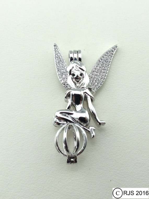 Fairy Pick A Pearl Cage Silver Necklace Pendant Crystal Accent Tink Angel Wings