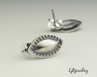 Silver Earrings, Silver Stud Earrings, Hand Stamped, Metalsmith, Metalwork, Handmade, Artisan Jewelry