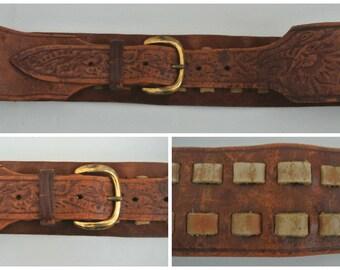 "vtg Distressed & embossed laced leather belt M Black Sheep 2 5/8"" wide"