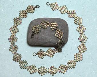 Beaded Necklace Set Beadwork Necklace Tila Bead Necklace Khaki Bead Necklace Bead Collar Necklace Beadwoven Necklace Seed Bead Necklace
