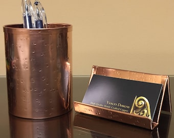 Combo SQCO1111 Square Hammered Copper Pen Pencil and Business Card Holder