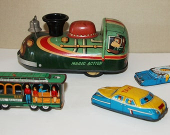 3 Vintage Tin, Friction Toys, A Small Sweet Group, Transportation Theme, Mid Century, c.1960s, One Free, Made in Japan, Modern Toys