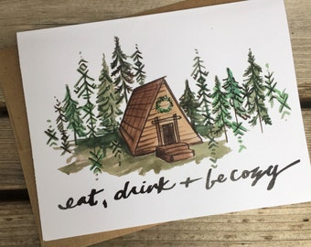 6 Holiday Greeting Cards / Northwest Holiday Cards / Cozy Cabin