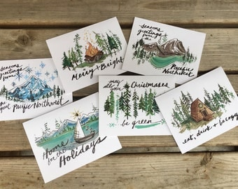 PNW Holiday Card 6-Pack // 6 Northwest Holiday Designs