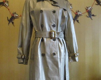 World's Coolest  1970's Gold Leather Jacket/Trench Coat by Terry Lewis size Medium