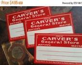 ON SALE 6 Large Antique Carver's General Store Maine Red Dennison Gummed Labels Lot