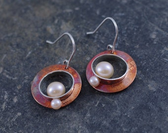 Pearl and Copper Hammered Dangle Earrings, Britton Signature Pearl Earrings