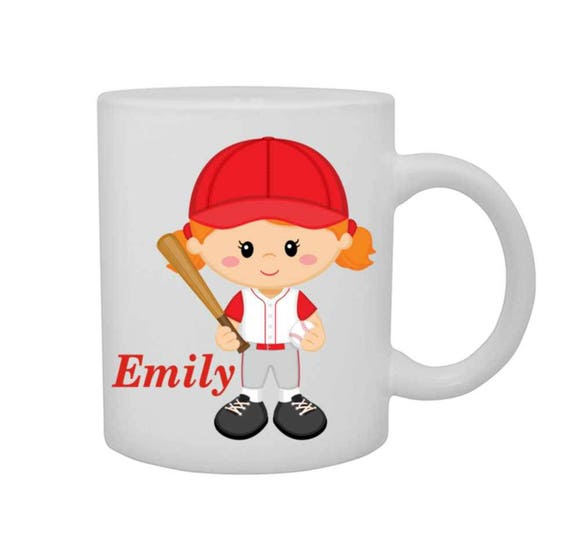 cup with girl baseball player, girls personalized mug, girl baseball player mug, customized cup, girl baseball player cup, red head girl cup