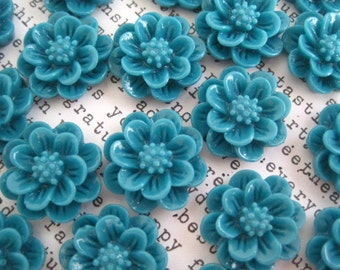 15mm Dark Teal Flower Cabochons / 10 to 20 pcs / Resin Cabochon Flowers / Flat Backs / No Holes