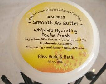 Face Mask SMOOTH AS BUTTER - Hydrating Face Mask - Moisturizing Face Mask - Whipped Facial Mask - Pineapple Papaya Mask - Serum Mask - 3oz