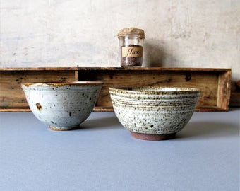 Vintage modern rustic pottery bowls, farmhouse pottery decor