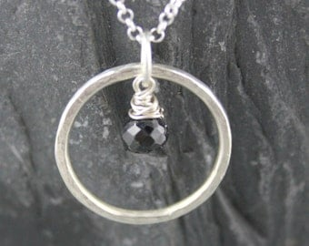 Black Onyx Necklace, Sterling SIlver, Black Onyx Pendant, Simple Silver Jewelry, Minimalist Jewelry