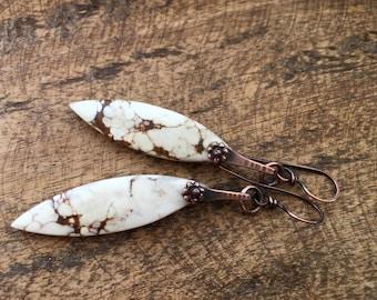Rustic White 'Solstice' Series Howlite  Stone earrings n303. - large marquise drop stone . solid copper . oxidized metal  white elegant boho
