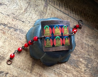 Artisan Collage Rustic Buddha bracelet- artisan mixed media Buddha .  Buddha focal . Buddhism . meditation . mixed beads colorful . yoga