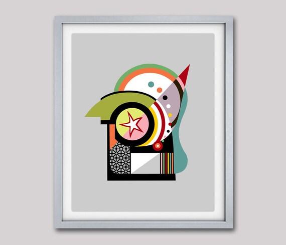 Abstract Art, Geometric Art Print, Bauhaus Poster, Minimalist Art Poster, Cubist Painting, Cubism, Geometric Wall Art Decor