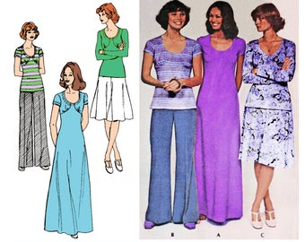 "1974 Yoke Scoop Neck Flared Maxi Dress, Top, Flared Skirt & Pants, Stretchable Knits, Easy Sew, Beginners, McCall's 4358 Bust 32 1/2"", Uncut"