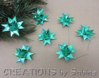 Green Star Ornaments, Set of 7 Small Froebel Moravian Star Holidays Shiny Satin Metallic Decoration Decor Classic Gift READY TO SHIP (126)