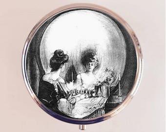 Skull Optical Illusion Pill Box Case Pillbox Holder Trinket Stash Box All is Vanity Metamorphic Goth Memento Mori