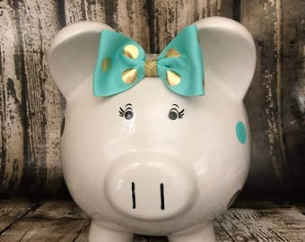 LARGE Personalized piggy bank, mint and gold polka dots piggy bank, girl bank, birthday banks, custom piggy banks, baby's first piggy bank