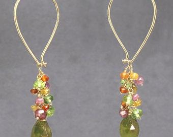 Teardrop cluster hoop earrings pink ruby, citrine, peridot, and vessonite, Carnivale 53