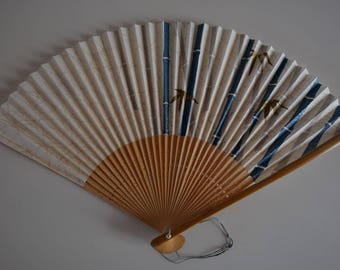 Hand fan, bamboo and paper, vintage Japanese sensu