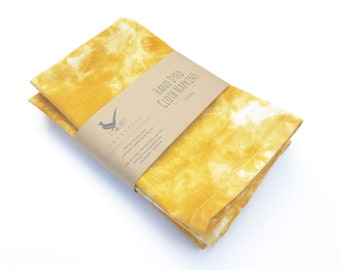 "Hand Dyed Yellow Cloth Napkins Set of 4 Dinner Marigold Napkins Cotton Napkins 16"" Napkins Lunch box napkins"