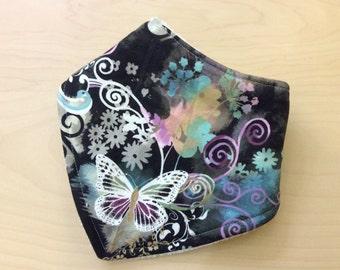 3 layer bandana bib, drool bib, butterflies