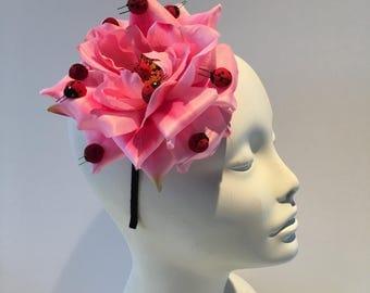 Pink fascinator- Lady bug headdress- Lady Bug headpiece- Lady Bug Costume -Pink Headdress -Mad hatter- Derby Hat- Kentucky Derby Fascinator