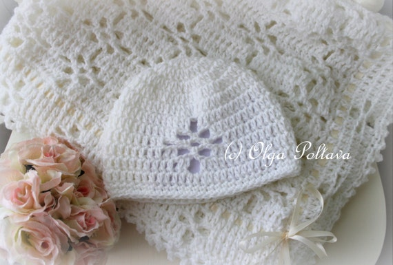 White Lace Christening Blanket and Baby Hat Crochet Pattern, Crochet Baby Afghan, Christening Shawl, Instant PDF Download