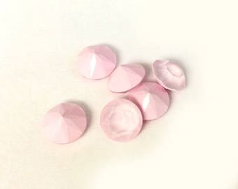 Lot of 6 pcs. Swarovski Chaton Faceted Pointed Back Crystals #1088 Powder Rose 39ss