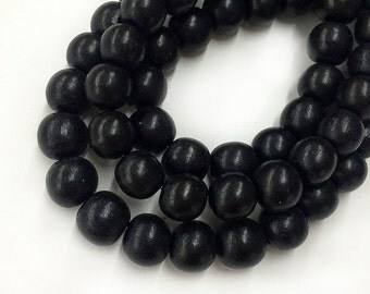 Dyed Wood Beads, Black, 8mm Round - 15.5 inch Strand - eW254-8