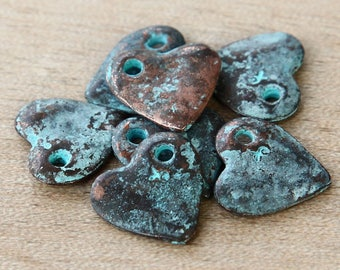 Heart Charms, Green Patina, 16mm - 4 pcs- eC2858GP