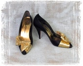 Vintage 1980s Black Evening Shoes, High Heels, Sexy Heels, Gold Bow, Satin Shoes, Beverly Feldman, Size 8