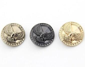 6 pcs 0.59~0.98 inch Fashion Matte Gold/Gun Black/Tea Gold Eagle Metal Shank Buttons for Suits Coats