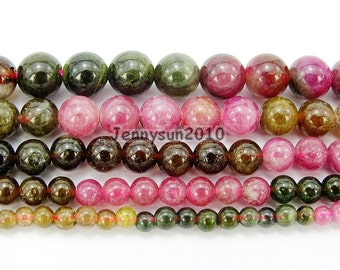 Natural Multi-Colored Tourmaline Gemstones Round Ball Spacer Beads 4mm 5mm 6mm 7mm Great For Jewelry Design