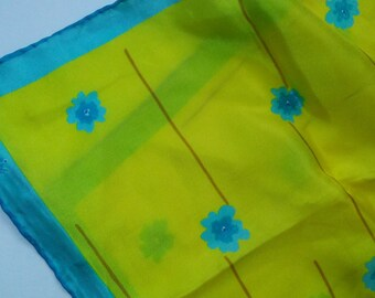 Vera Spring Yellow with Turquoise Flowers Silk Scarf