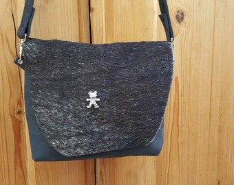 "KUHIE®, cow fur bag ""Minnie"" from black cowhide and Teddy rivets"