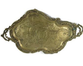 vintage brass Art Nouveau tray, organic shape, ornate handles