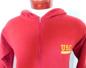 Go USC Trojans vintage 80s University of Southern California solid wine red fleece full zip graphic hoodie sweatshirt embroidered logo small