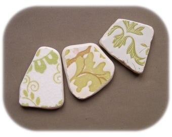 3 pendant shaped  pieces,Green/White Ornamental Pattern ,Patterned  Sea Pottery Lot,Pendant Sized,  Mosaic Pieces,