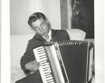 Old Photo Teen Boy Playing Accordion 1940s