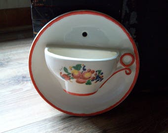 Tea cup planter wall pocket garden flowers plant porch hang wall mount tea cup planter vintage retro outdoors patio