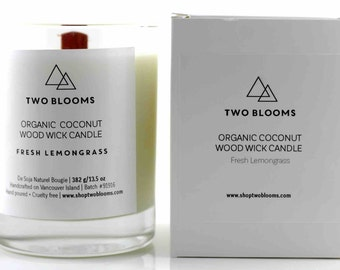 Fresh Lemongrass Organic coconut wax wood wick Candles 13.5 oz, Natural Candle Victoria, BC Vancouver Island Canada