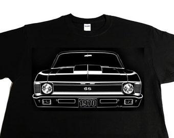 Car Grille Art Tee shirt, T-Shirt, 1970 Chevy Nova SS Cowl Hood.